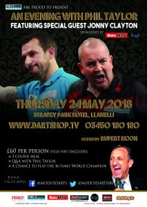An evening with Darts Legend Phil Taylor featuring special guest Jonny Clayton @ Stradey Park Hotel | Wales | United Kingdom