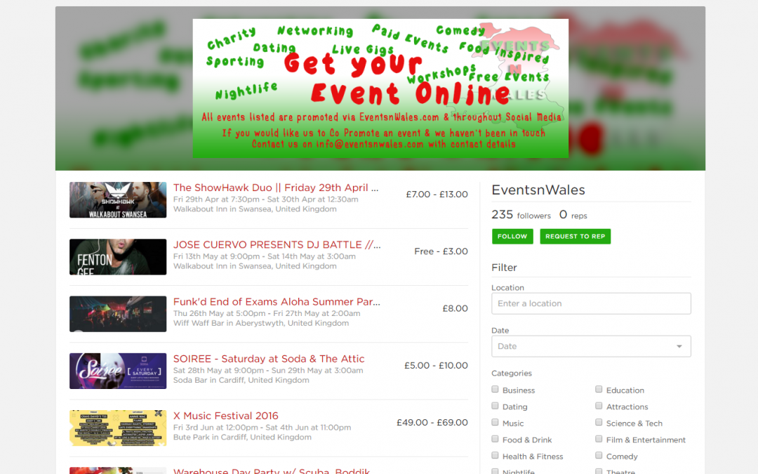 New Ticketing Platform from EventsnWales