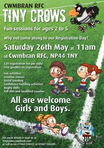 Tiny Crows - Fun sessions for ages 2 - 5 at Cwmbran RFC @ Cwmbran RFC | United Kingdom