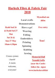 Harlech Fibre and Fabric Fair 2018 @ Memorial Hall Harlech | Wales | United Kingdom