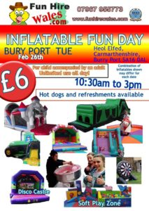 Inflatable Fun Days for kids in Carmarthenshire @ Heol Elfed